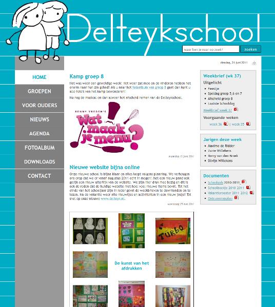 screenshot van nieuwe website van de Delteykschool