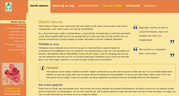 Screenshot van de nieuwe Koesterkind website