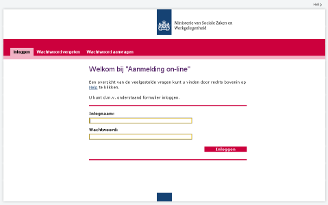 Inlogscherm Aanmelding on-line