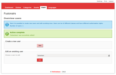 Screenshot of Onlinebase CMS user management