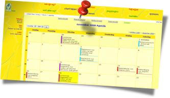 Screenshot van de nieuwe agenda in de website van de VOKK
